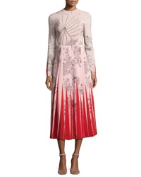 Valentino Garden Of Delight Long Sleeve Gown Pink Multi Pink Pattern
