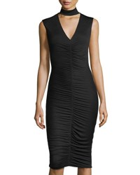 Bailey 44 Ruched Jersey Sleeveless Dress Black