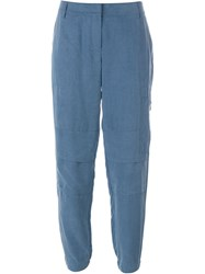 Akris Cropped Tapered Trousers Blue