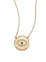 Jacquie Aiche Blue Diamond And 14K Yellow Gold Hammered Disc Eye Necklace