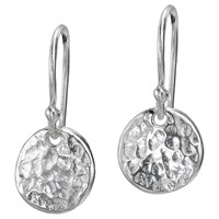 Dower And Hall Textured Disc Drop Earrings Silver