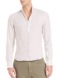 Sand Slim Fit Barre Stripe Popover Shirt Beige