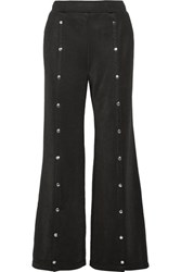 Alexander Wang T By Coated French Terry Wide Leg Pants Black