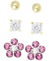 Victoria Townsend Children's Cubic Zirconia Earring Trio In 18K Gold Over Sterling Silver
