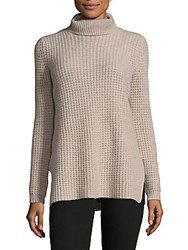 Cashmere Saks Fifth Avenue Oversized Turtleneck Rib Knit Sweater Oatmeal Heather