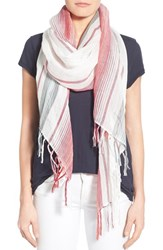 Women's Caslon 'Southwest Stripe' Linen Blend Scarf Red Red Combo