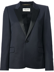 Saint Laurent Contrast Lapel Blazer Blue