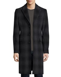 Burberry Tailored Check Wool Cashmere Coat Charcoal Melange