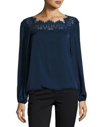 Max Studio Lace Neck Bubble Hem Blouse Black