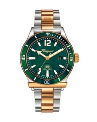 Salvatore Ferragamo 43Mm 1898 Sport Men's Two Tone Bracelet Watch Green