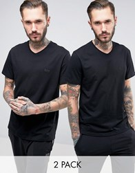 Boss Black By Hugo V Neck T Shirt 2 Pack In Relaxed Fit Black Black