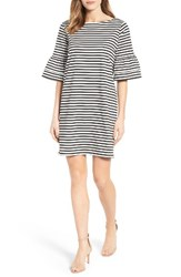 Halogenr Women's Halogen Ruffle Sleeve Shift Dress Ivory Black Stripe