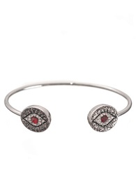T And C Theodora And Callum Evil Eye Open Bangle Bracelet Red Silver