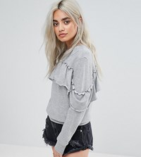 Noisy May Petite Ruffle Detail Sweat Grey