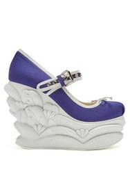 Miu Miu Embossed Faille Ballet Wedge Pumps Blue