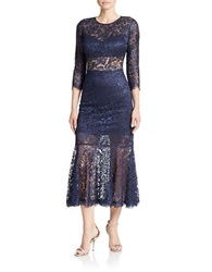 Basix Ii Three Quarter Sleeve Lace Dress Navy
