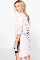 Boohoo Drape Back Tie Up Knitted Tunic Silver