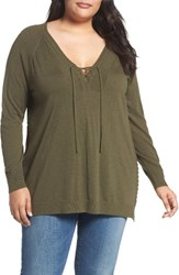 Lucky Brand Plus Size Women's Lace Up Sweater