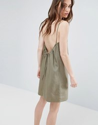 Asos Linen Sundress With Scoop Back And Tie Detail Khaki Green