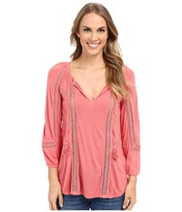 Lucky Brand Lace Mixed Peasant Top Faded Rose Women's Clothing Pink