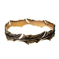 House Of Alaia Fabrics Of Life Feather Bangle Antiqued Bronze With Clear Nano Coating