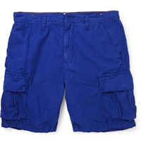 Hartford Cotton And Linen Blend Shorts Blue