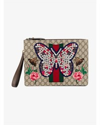 Gucci Button Embellished Butterfly Document Case Beige Brown Green Red Rose Multi Coloured De