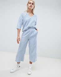 Moss Copenhagen Wide Leg Culotte Trousers In Summer Stripe Co Ord Blue And White