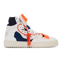 Off White And Blue Low 3.0 Court High Top Sneakers