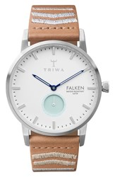 Triwa Wave Falken Embroidered Leather Strap Watch 38Mm
