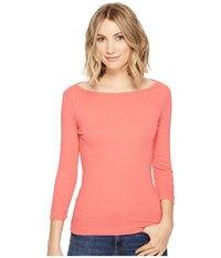 Three Dots Essential British Neck 3 4 Sleeve Top English Rose Women's Clothing Pink