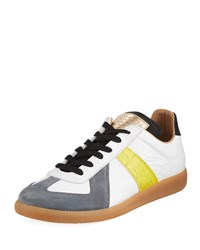 Maison Martin Margiela Replica Contrast Trim Leather And Suede Low Top Sneakers White