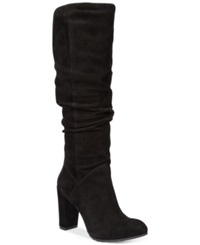 Nine West Shiryl Slouch Dress Boots Women's Shoes Black Suede
