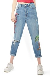 Topshop Women's Distressed Sequin Mom Jeans