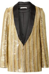 Alice Olivia Jace Oversized Satin Trimmed Sequined Cotton Blazer Gold