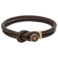 Emporio Armani Men's Leather Bracelet Brown Gold