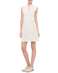 Akris Mock Neck Perforated Napa Leather A Line Dress Beige