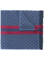 Gucci Gg Jacquard Shawl With Web Blue