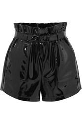 Saint Laurent Belted Patent Leather Shorts Black