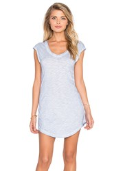 Bobi Cold Water Washed Slubbed Jersey V Neck Tunic Blue