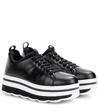 Prada Leather Platform Sneakers Black