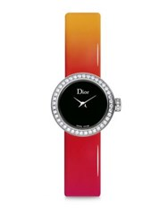 Christian Dior La Mini D De Dior Diamond Stainless Steel And Gradient Patent Leather Strap Watch Orange Black