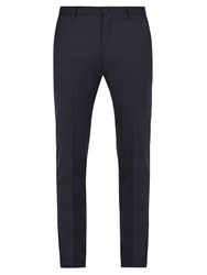 Etro Slim Leg Wool Trousers Navy