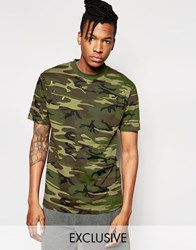 Reclaimed Vintage Camo T Shirt With Distressing Green