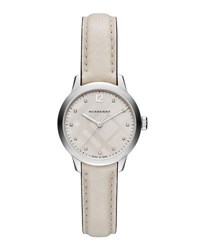 Burberry 32Mm Round Stainless Watch With Diamonds White