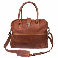 Mahi Leather Cornell Satchel Briefcase Work Bag With Up To 15 Laptop Capacity In Vintage Brown