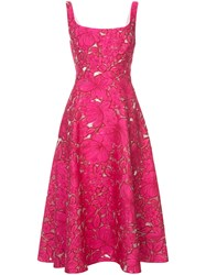 Lela Rose Floral Embroidery Dress Women Silk Polyamide Polyester 4 Pink Purple