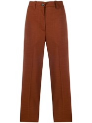 Erika Cavallini High Waisted Cropped Trousers Brown