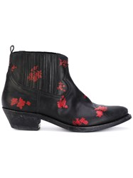 Golden Goose Deluxe Brand Floral Detail Boots Women Leather 35 Black