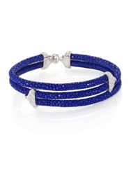 Stinghd Diamond 18K White Gold And Stingray Triangle Wrap Bracelet Cobalt